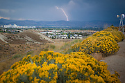 Reno, Nevada.  A bolt of lightning hits the foothills