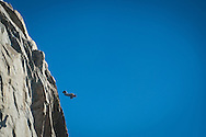 Freddy a BASE jumper leaves the Aiguille du Midi above Chamonix, in a wingsuit.