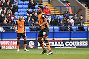 HUll City Forward, Chuba Akpom misses during the Sky Bet Championship match between Bolton Wanderers and Hull City at the Macron Stadium, Bolton, England on 30 April 2016. Photo by Mark Pollitt.