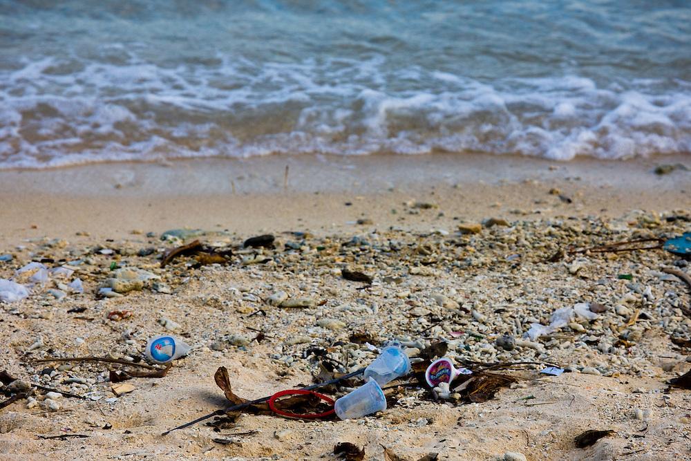 Garbage and waste litters a beach at Manokwari, Papua, Indonesia, Sept. 10, 2008..Daniel Beltra/Greenpeace
