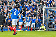Portsmouth Forward, Brett Pitman (8) celebrates in the crowd after scoring a goal 1-0 during the EFL Sky Bet League 1 match between Portsmouth and Fleetwood Town at Fratton Park, Portsmouth, England on 16 September 2017. Photo by Adam Rivers.
