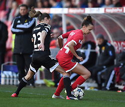 Bristol Academy's Gabbie Simmons-Bird competes with FFC Frankfurt's Bianca Schmidt - Photo mandatory by-line: Paul Knight/JMP - Mobile: 07966 386802 - 21/03/2015 - SPORT - Football - Bristol - Ashton Gate Stadium - Bristol Academy v FFC Frankfurt - UEFA Women's Champions League