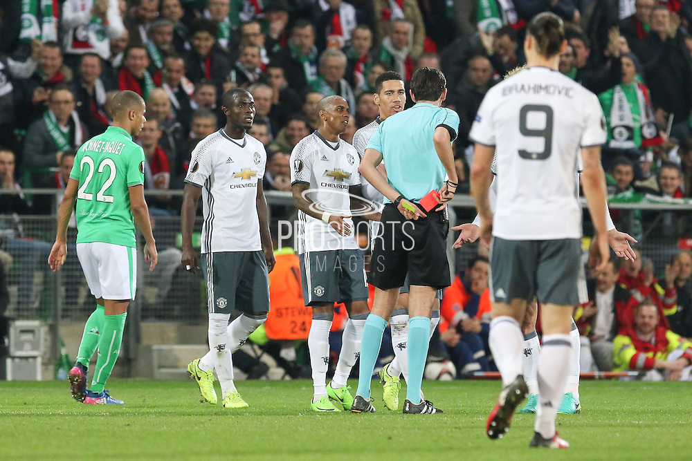 Eric Bailly Defender of Manchester United is shown red card during the Europa League match between Saint-Etienne and Manchester United at Stade Geoffroy Guichard, Saint-Etienne, France on 22 February 2017. Photo by Phil Duncan.
