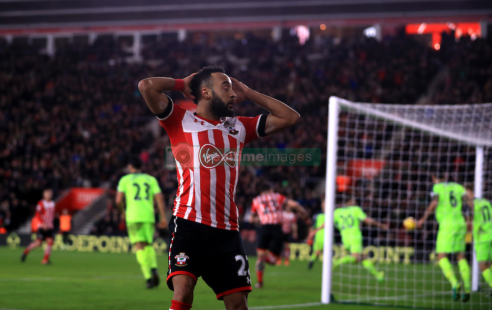 Southampton's Nathan Redmond rues a missed chance
