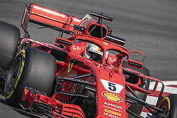 May 11, 2018 - Barcelona, Catalonia, Spain - SEBASTIAN VETTEL (GER) drives during the first practice session of the Spanish GP at Circuit de Catalunya in his Ferrari SF-71H. (Credit Image: © Matthias Oesterle via ZUMA Wire)