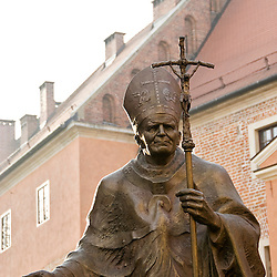 Statue of Joan Paul II in the castle of Krakow, Poland, Europe.