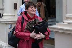 London, UK. 15th January, 2019. Arlene Foster, Leader of the Democratic Unionist Party (DUP), leaves the British Academy after speaking at the launch of the 'A Better Deal' pamphlet with David Davis MP, Dominic Raab MP and Lord Lilley. The pamphlet sets out proposals for an alternative EU withdrawal agreement.