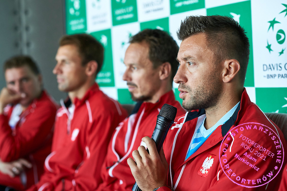 (L-R) Marcin Matkowski and Lukasz Kubot and Radoslaw Szymanik - captain national team and Michal Przysiezny all from Poland during official draw one day before Davis Cup Tie World Group Play-off Poland v Slovakia at Mondo di Vinegre Restaurant in Gdynia, Poland.<br /> <br /> Poland, Gdynia, September 17, 2015<br /> <br /> Picture also available in RAW (NEF) or TIFF format on special request.<br /> <br /> For editorial use only. Any commercial or promotional use requires permission.<br /> <br /> Adam Nurkiewicz declares that he has no rights to the image of people at the photographs of his authorship.<br /> <br /> Mandatory credit:<br /> Photo by &copy; Adam Nurkiewicz / Mediasport