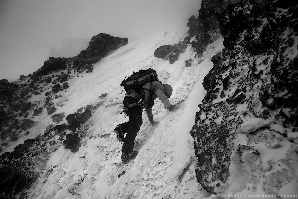 Winter attempt to climb Mt. Rainier via the Gibraltar Ledges route.