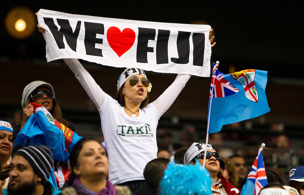 A fan cheers for Fiji at the HSBC Sevens World Series XVII Round 6 at B.C. Place Stadium in Vancouver British Columbia on March 13, 2016. (KevinLight/CBCSports)