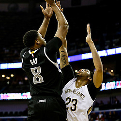 Mar 7, 2016; New Orleans, LA, USA; Sacramento Kings forward Rudy Gay (8) shoots over New Orleans Pelicans forward Anthony Davis (23) during the second quarter of a game at the Smoothie King Center. Mandatory Credit: Derick E. Hingle-USA TODAY Sports