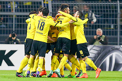 18.02.2016, Signal Iduna Stadion, Dortmund, GER, UEFA EL, Borussia Dortmund vs FC Porto, Sechzehntelfinale, Hinspiel, im Bild Torjubel ueber das Tor zum 1:0 durch Lukasz Piszczek (#26, Borussia Dortmund) (verdeckt) mit Nuri Sahin (#18, Borussia Dortmund), Pierre-Emerick Aubameyang (#17, Borussia Dortmund) und anderen // during the UEFA Europa League Round of 32, 1st Leg match between Borussia Dortmund and FC Porto at the Signal Iduna Stadion in Dortmund, Germany on 2016/02/18. EXPA Pictures © 2016, PhotoCredit: EXPA/ Eibner-Pressefoto/ Deutzmann<br /> <br /> *****ATTENTION - OUT of GER*****