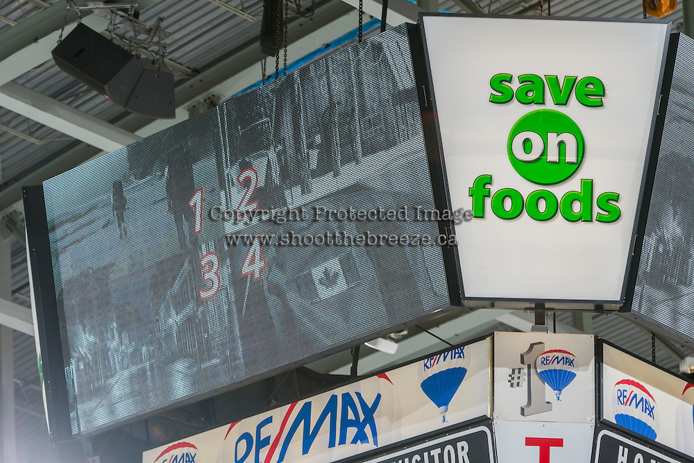 KELOWNA, CANADA - FEBRUARY 10: McSweeneys game promotion on the jumbotron on February 10, 2017 at Prospera Place in Kelowna, British Columbia, Canada.  (Photo by Marissa Baecker/Shoot the Breeze)  *** Local Caption ***