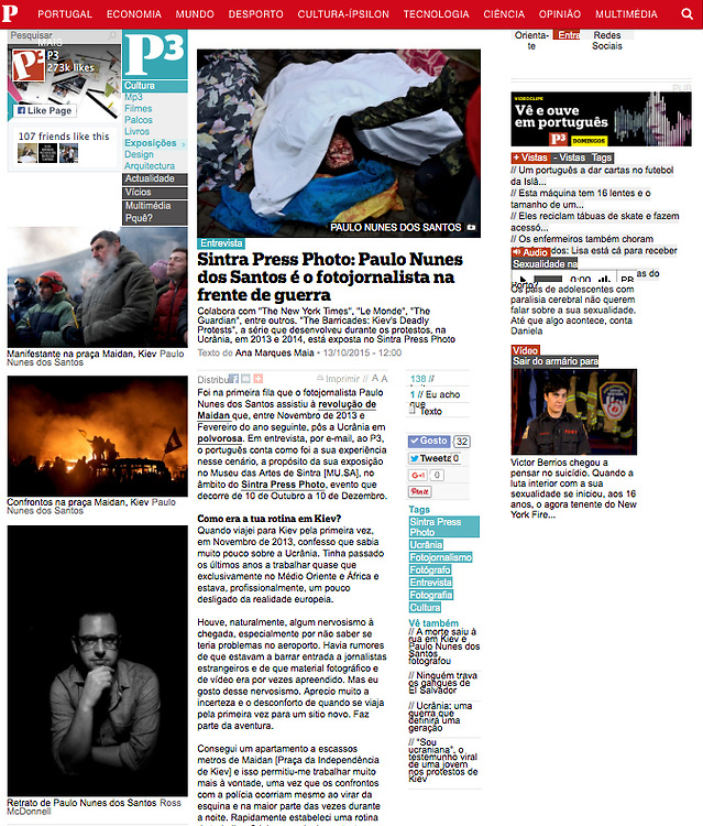 "Screengrab of ""Interview: War photographer"" published in Publico"