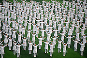 TIANJIN, CHINA - DECEMBER 20: (CHINA OUT) <br /> <br /> Over 1,000 Nurse Students Dance For Hospice Care<br /> <br /> Nurse students from Tianjin Medical College dance for a hospice care project at the playground on December 20, 2015 in Tianjin, China. Over 1,000 nurse students gathered on the playground and danced for a hospice care project held by CCTV on Dec 20 in Tianjin.<br /> ©Exclusivepix Media