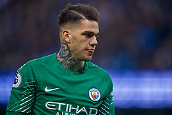 MANCHESTER, ENGLAND - Saturday, April 7, 2018: Manchester City's goalkeeper Ederson Moraes during the FA Premier League match between Manchester City FC and Manchester United FC at the City of Manchester Stadium. (Pic by David Rawcliffe/Propaganda)