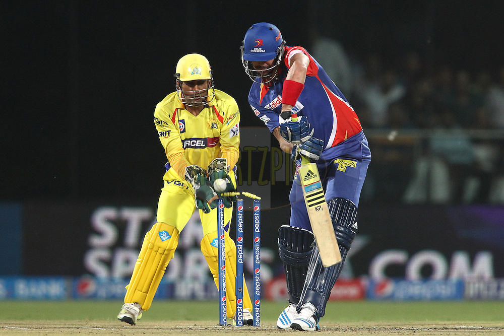 Kevin Pietersen captain of the Delhi Daredevils is bowled by Mohit Sharma of The Chennai Super Kings during match 26 of the Pepsi Indian Premier League Season 2014 between the Delhi Daredevils and the Chennai Super Kings held at the Feroze Shah Kotla cricket stadium, Delhi, India on the 5th May  2014<br /> <br /> Photo by Shaun Roy / IPL / SPORTZPICS<br /> <br /> <br /> <br /> Image use subject to terms and conditions which can be found here:  http://sportzpics.photoshelter.com/gallery/Pepsi-IPL-Image-terms-and-conditions/G00004VW1IVJ.gB0/C0000TScjhBM6ikg