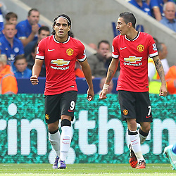 Manchester United's Radamel Falcao and Manchester United's Angel Di Maria during the Barclays Premiership match between Leicester City FC and Manchester United FC, at the King Power Stadium, Leicester, 21st September 2014 © Phil Duncan | SportPix.org.uk