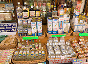 Shop display bottles of ouzo, Rhodes, Greece