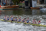 Henley on Thames, England, United Kingdom, Sunday, 07.07.19, Roeivereeniging Studenten Vreie Universiteit Okeanos, Netherlands, NED, celebrate, after crossing the Finish Line, to win the Thames Challenge Cup, Henley Royal Regatta,  Henley Reach, [©Karon PHILLIPS/Intersport Images]<br /> <br /> 16:07:23 1919 - 2019, Royal Henley Peace Regatta Centenary,