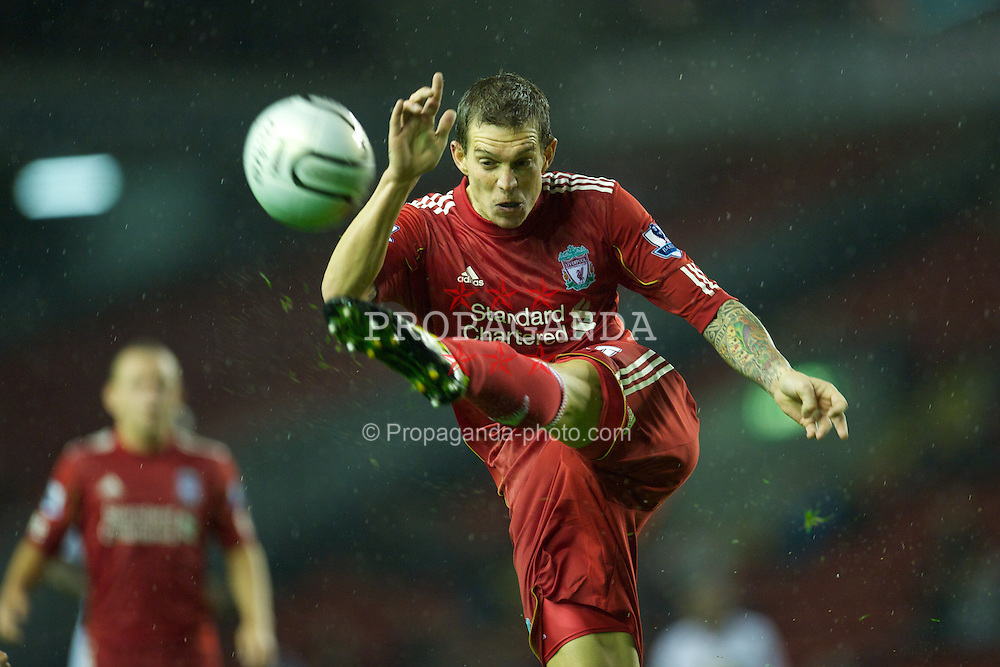 LIVERPOOL, ENGLAND - Wednesday, September 22, 2010: Liverpool's Daniel Agger in action against Northampton Town during the Football League Cup 3rd Round match at Anfield. (Photo by David Rawcliffe/Propaganda)