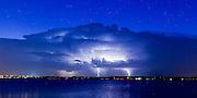 Thunderstorm with lightning near Lake Overholser in Oklahoma City on Sunday, Aug. 7, 2016. (Photo copyright © 2016 Alonzo J. Adams)