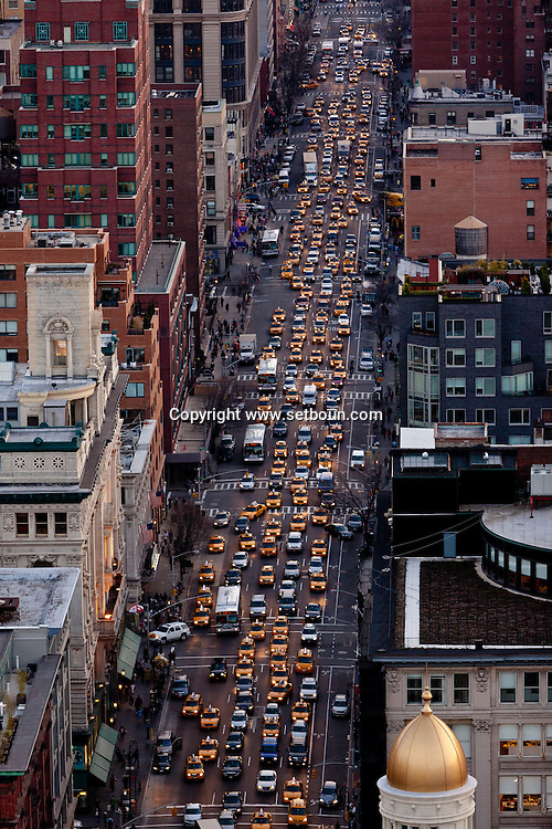 New York elevated view, cityscape of Manhattan sixth avenue