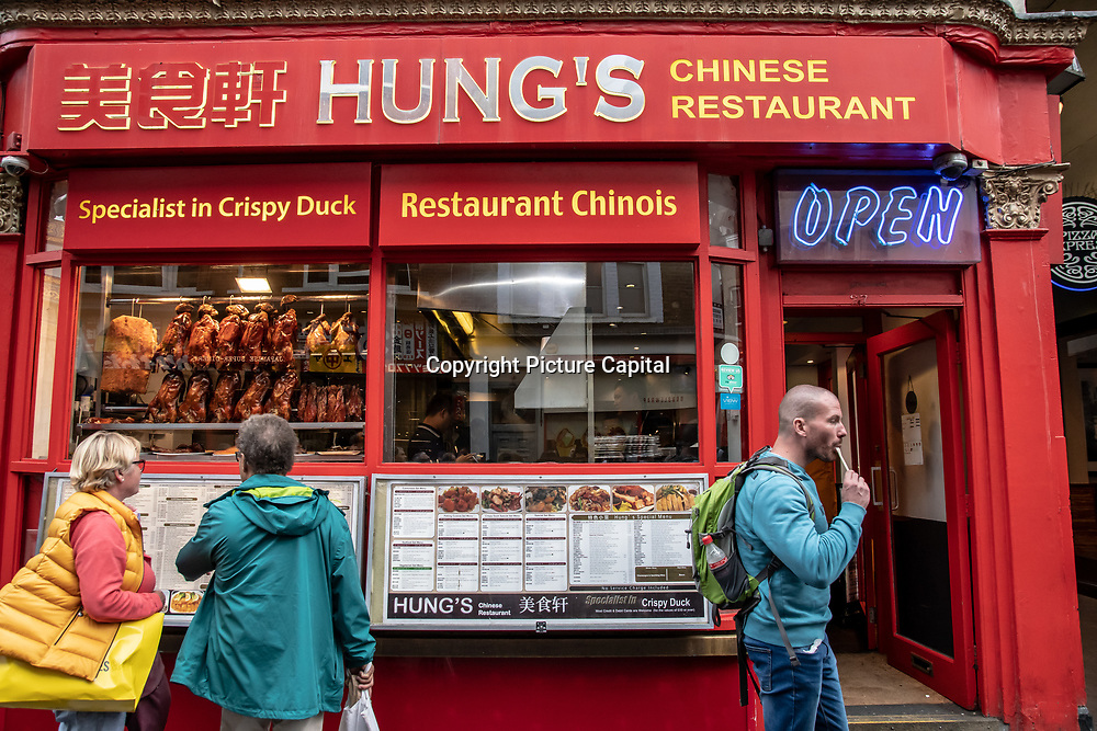 Hung's in London Chinatown Sweet Tooth Cafe and Restaurant at Newport Court and Garret Street on 15 June 2019, UK.