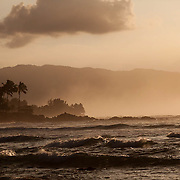 North Shore Hawaii at dusk. With big swell coming in, famous for big wave surfing.