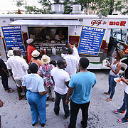 Spectator line up to buy food at Gigi & Big R during the 27th DuPont Clifford Brown Jazz Festival Saturday, June 20, 2015, at Rodney Square in Wilmington, Delaware.