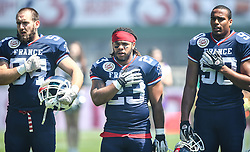 07.06.2014, Ernst Happel Stadion, Wien, AUT, American Football Europameisterschaft 2014, Spiel um Platz 3, Frankreich (FRA) vs Finnland (FIN), im Bild Loic Cagniard , (Team France, LB , #54),  Nguendjo Stephen  Yepmo , (Team France, RB , #23) und  Valentin  Gnahoua , (Team France, DL , #90) // during the American Football European Championship 2014 game for place 3 between France and Finland at the Ernst Happel Stadion, Vienna, Austria on 2014/06/07. EXPA Pictures © 2014, PhotoCredit: EXPA/ Thomas Haumer