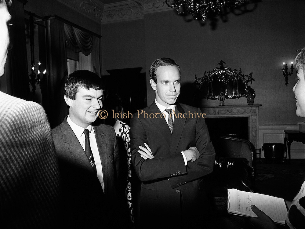 Prince Albert of Monaco is greeted by reporters at Iveagh House, Dublin, along with George Bermingham TD, Minister of State at the Department of Foreign Affairs, as part of his visit to Ireland.<br /> 19 September 1986