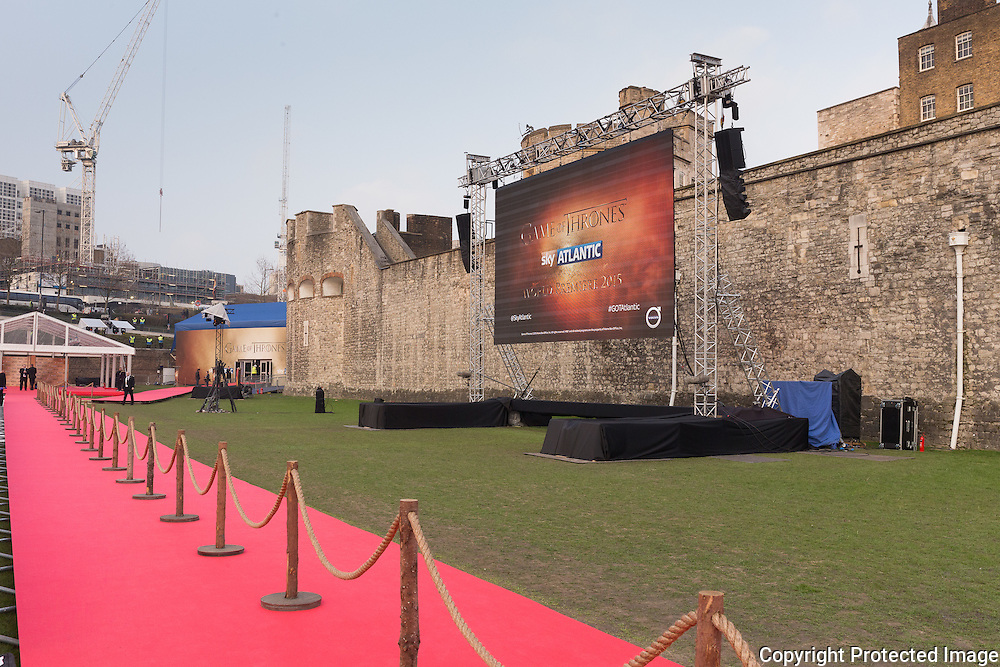 Game of Thrones Premiere, The Tower of London. 18th March 2015. De Boer Structures