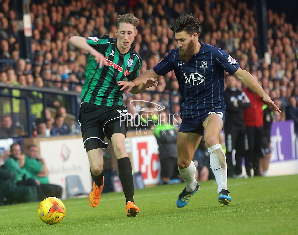 Joe Bunney & Joe Pigott during the Sky Bet League 1 match between Southend United and Rochdale at Roots Hall, Southend, England on 31 October 2015. Photo by Daniel Youngs.