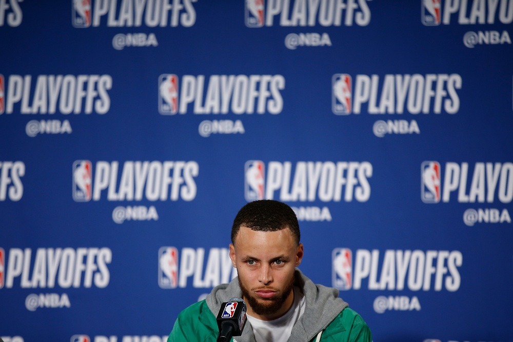 during a news conference following Game 2 of the NBA Western Conference semifinals between the Golden State Warriors and New Orleans Pelicans at Oracle Arena, Tuesday, May 1, 2018, in Oakland, Calif. Golden State Warriors won 121-116.