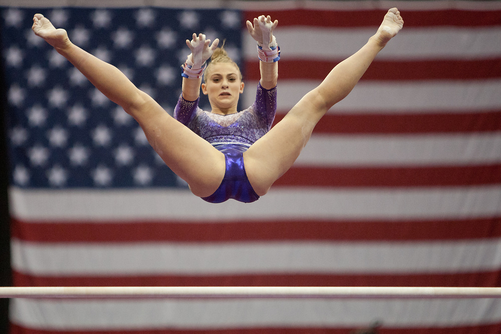 USA Gymnastics GK Classic - Schottenstein Center, Columbus, OH - July 28th, 2018. Stephanie Berger  competes on the bars at the Schottenstein Center in Columbus, OH; in the USA Gymnastics GK Classic in the senior division. Simone Biles won the allround with Riley McCusker second and Morgan Hurd third. - Photo by Wally Nell/ZUMA Press