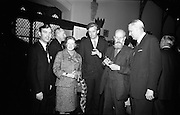 "Opening of Kilkenny Design Workshop. Paul P. Hogan, Director; Beryl S. Austrian, Intermural, New York; Ronald Tallon, architect; Oisin Kelly; and Per Tannum, President of ""Plus"", a similar centre in Norway.<br /> 15.11.1965"