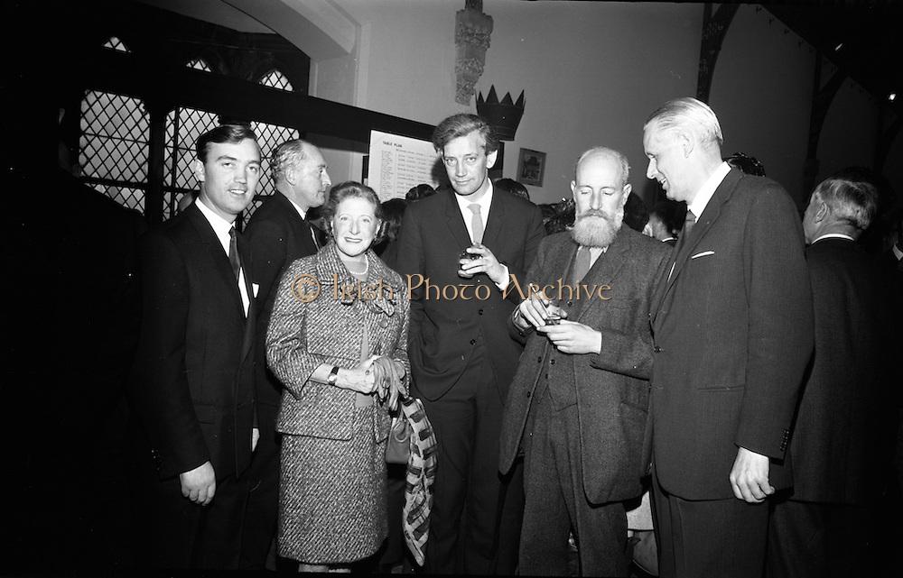 "Opening of Kilkenny Design Workshop. Paul P. Hogan, Director; Beryl S. Austrian, Intermural, New York; Ronald Tallon, architect; Oisin Kelly; and Per Tannum, President of ""Plus"", a similar centre in Norway.<br /> 15.11.1965"