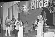 """Miss Elida"" Final At Mosney, Co Meath..1976..01.09.1976..09.01.1976..1st September 1976..The final of the ""Miss Elida"" lovely hair competition was held in The Gaiety Theatre,Butlins Holiday Centre,Mosney,Co Meath tonight. The competition is sponsored by Lever Bros,Sheriff St,Dublin. The shows compere was Mr Mike Murphy..Image shows Ms Frances Campbell from Derry being declared the winner of the competition"