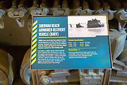 Information panel about Sherman Beach Armoured Recovery Vehicle (BARV) D-Day landings, REME museum, MOD Lyneham, Wiltshire, England, UK