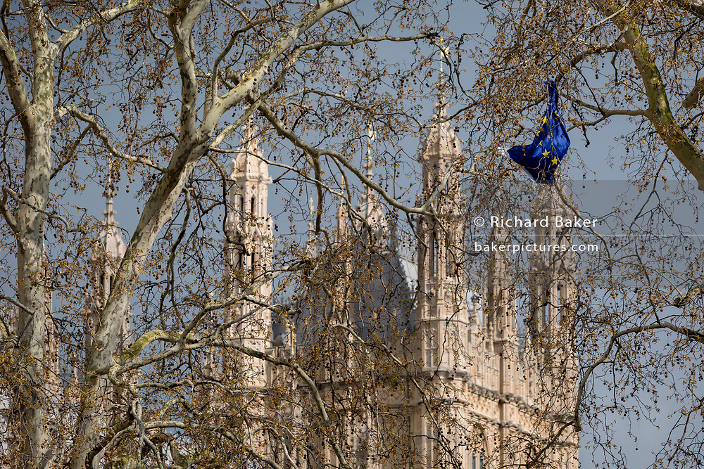 On the day that Prime Minister Theresa May meets with Labour leader Jeremy Corbyn in an attempt to break the Brexit deadlock in parliament, an EU-flag has been snagged in the branches of plain trees outside parliament in Westminster, on 3rd April 2019, in London, England.