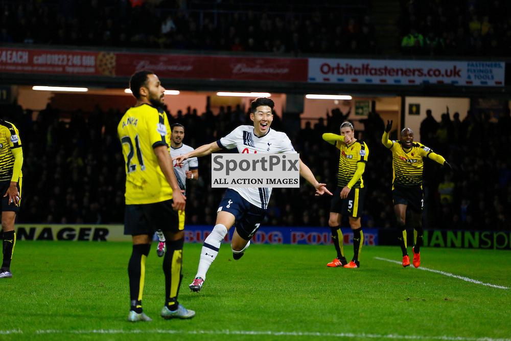 Son Heung-min celebrates during Watford v Tottenham, Barclays Premier League, Monday 28th December 2015, Vicarage Road, Watford