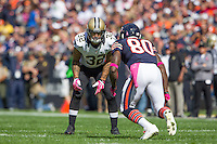06 October 2013: Safety (32) Kenny Vaccaro of the New Orleans Saints covers (80) Earl Bennett of the Chicago Bears during the first half of the Saints 26-18 victory over the Bears in an NFL Game at Soldier Field in Chicago, IL.