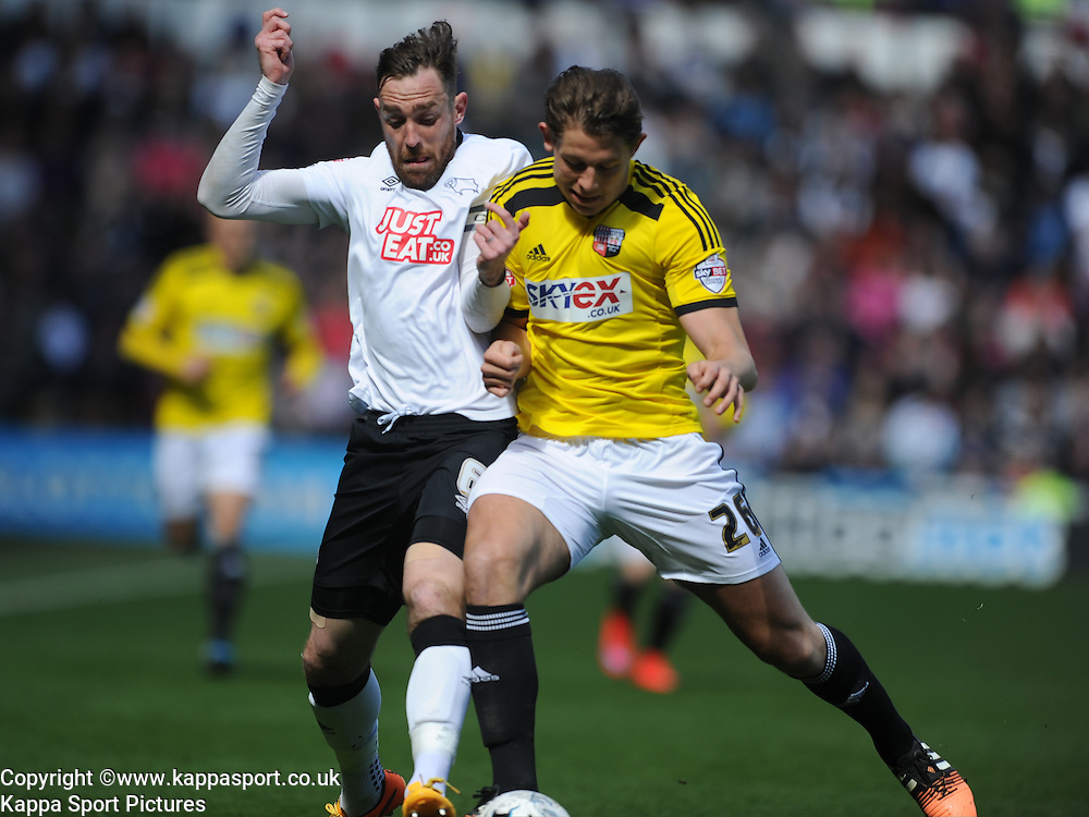 Richard Keogh Captain Derby County, battles with Brentfords James Tarkowski, Derby County v Brentford, Sy Bet Championship, IPro Stadium, Saturday 11th April 2015. Score 1-1,  (Bent 92) (Pritchard 28)<br /> Att 30,050