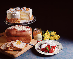 bakery pastry bread cake strawberry pie jam jelly yellow roses cutting board party holiday celebration