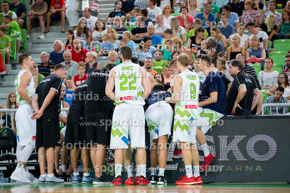 Players of Slovenia during friendly basketball match between National teams of Slovenia and G. Britain, on August 20, 2016 in Arena Stozice, Ljubljana, Slovenia. Photo by Urban Urbanc / Sportida