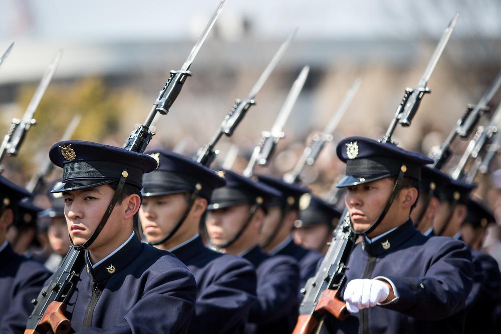 YOKOSUKA, JAPAN - APRIL 5 : Japanese cadets march during the entrance ceremony of new students at National Defense Academy in Yokosuka, south of Tokyo, Japan, April 5, 2017. This year, 468 new cadets enter the academy. (Photo by Richard Atrero de Guzman/NUR Photo)