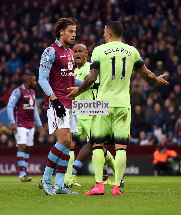 Rudy Gesede causes trouble as a ball given back to Manchester City is mis controlled by Joe Hart and goes for a corner and is asked about it by Aleksandar Kolarov of Manchester City
