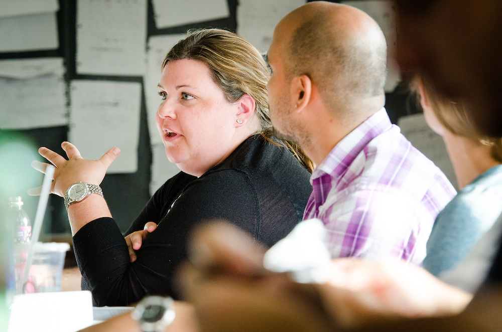 A student holds a discussion during an MBA class at Concordia University, Saint Paul, on Tuesday, August 5, 2014, in St. Paul, Minn.   LCMS Communications/Erik M. Lunsford