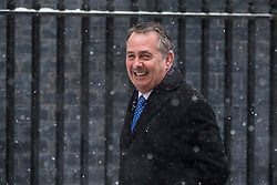 © Licensed to London News Pictures. 01/03/2018. London, UK. Secretary of State for International Trade Liam Fox on Downing Street for a meeting of the Cabinet ahead of Prime Minister Theresa May's speech on Brexit. Photo credit: Rob Pinney/LNP